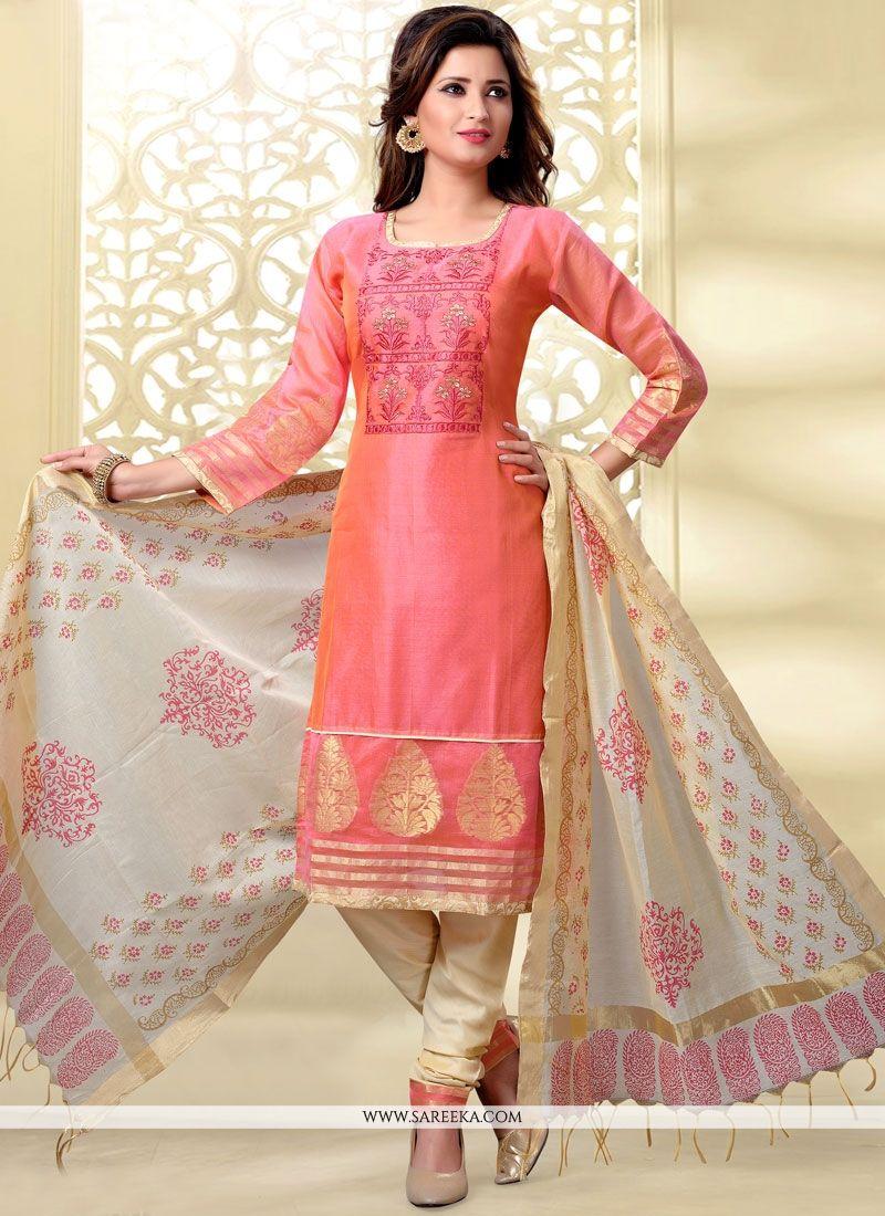 Rose Pink Embroidered Work Churidar Designer Suit