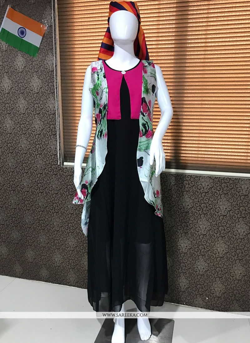Black Print Work Faux Georgette Party Wear Kurti
