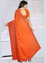 Faux Georgette Orange Embroidered Work Classic Saree