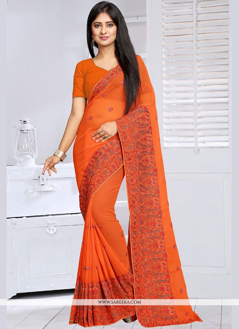 Faux Georgette Orange Embroidered Work Classic Saree