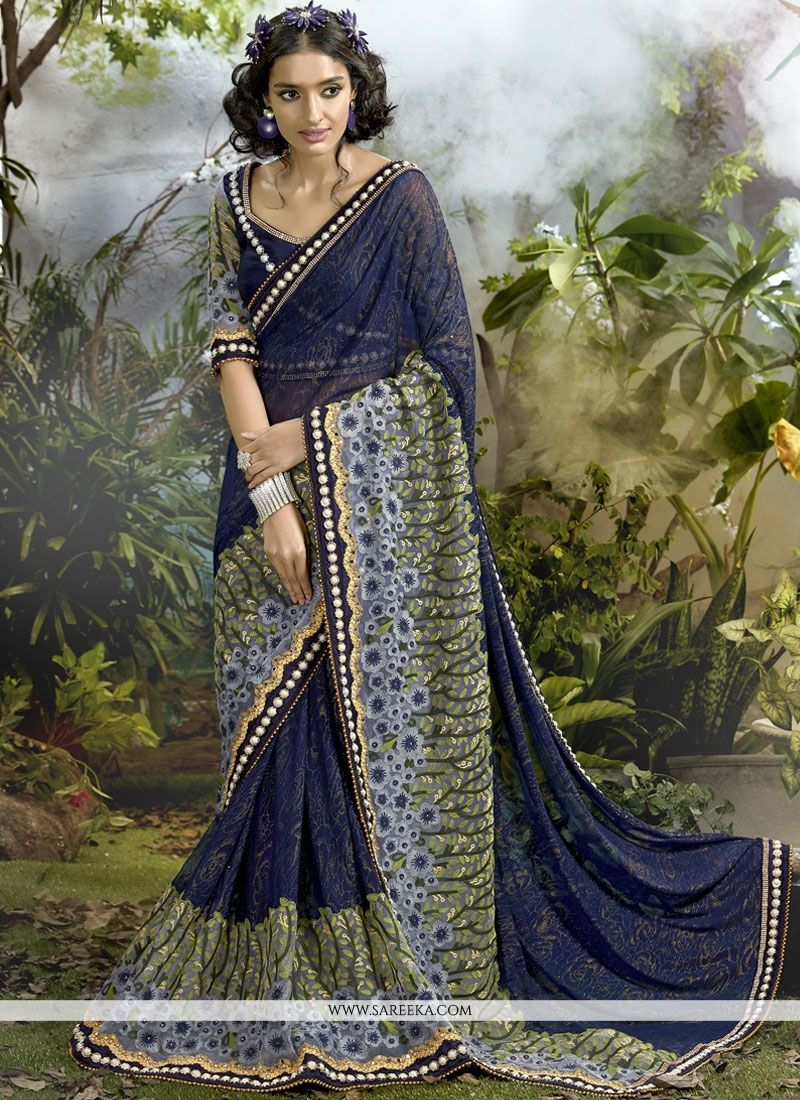 Navy Blue Embroidered Work Saree