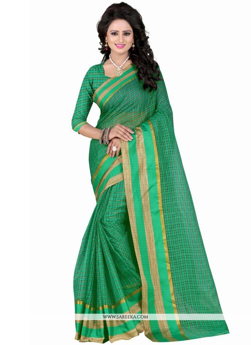 Polly Cotton Green Casual Saree