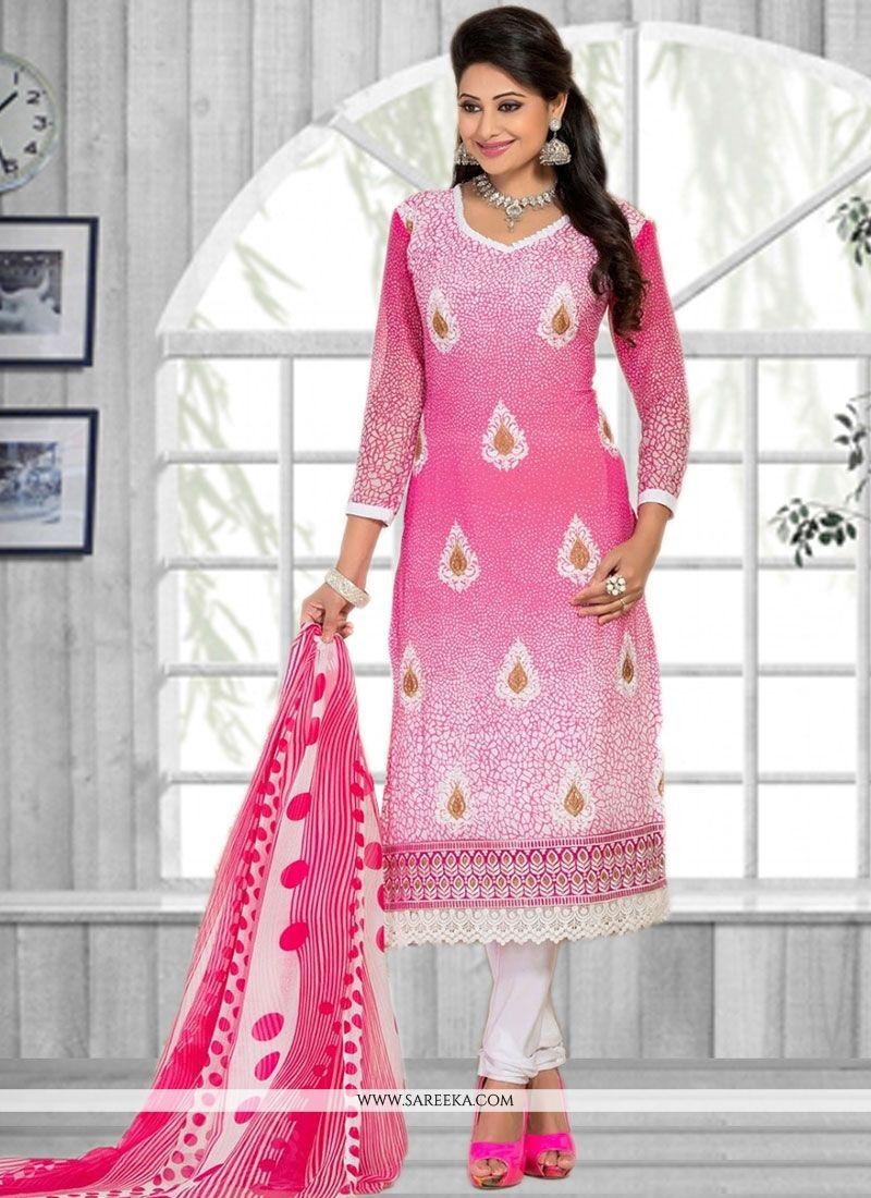 Pink Print Work Faux Chiffon Churidar Suit