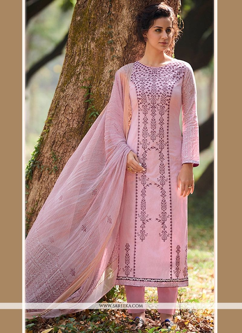 Cotton   Pink Embroidered Work Designer Straight Suit