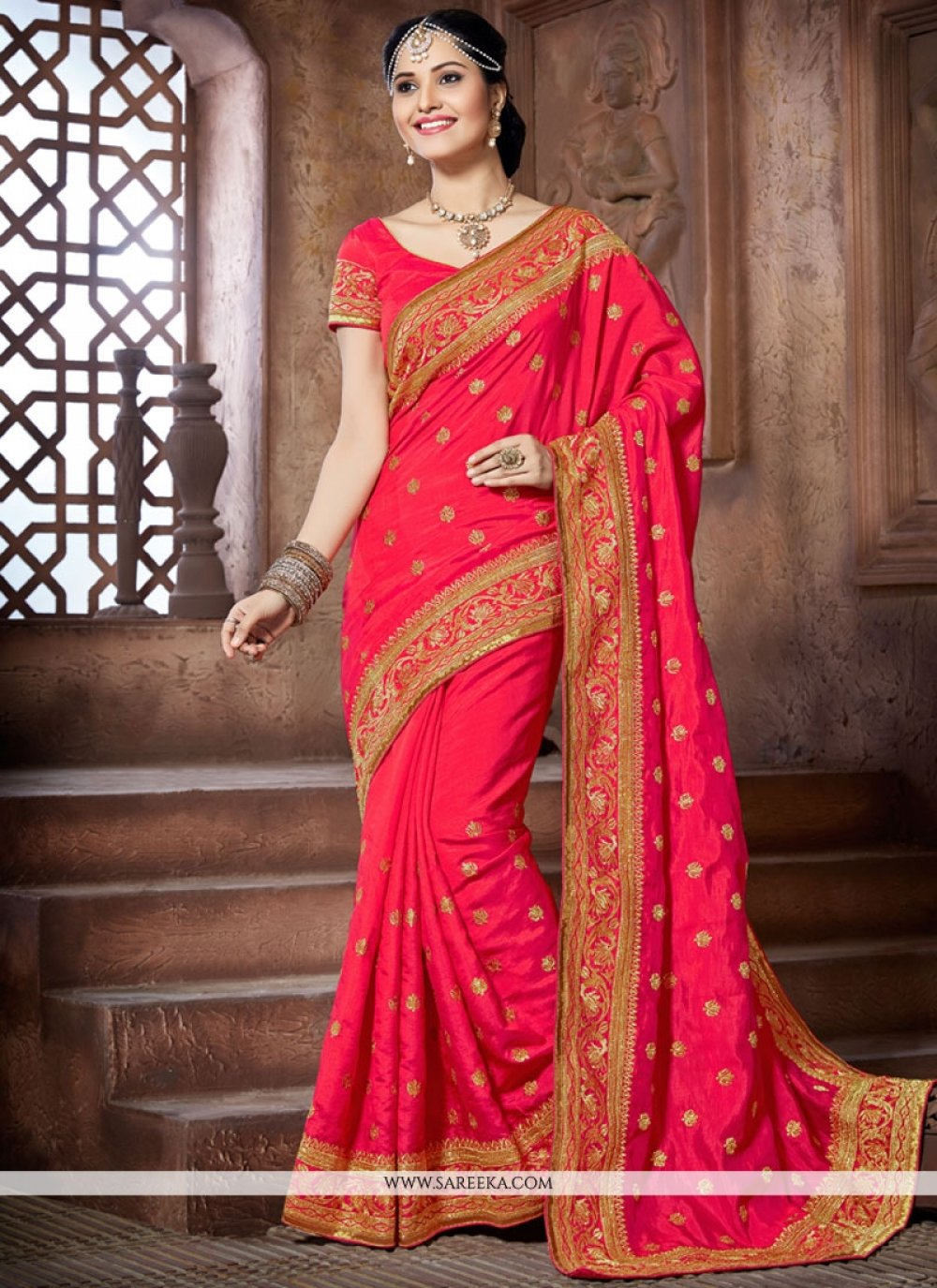 Crepe Silk Embroidered Work Traditional Designer Saree
