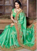 Crepe Silk Green Zari Work Traditional Designer Saree