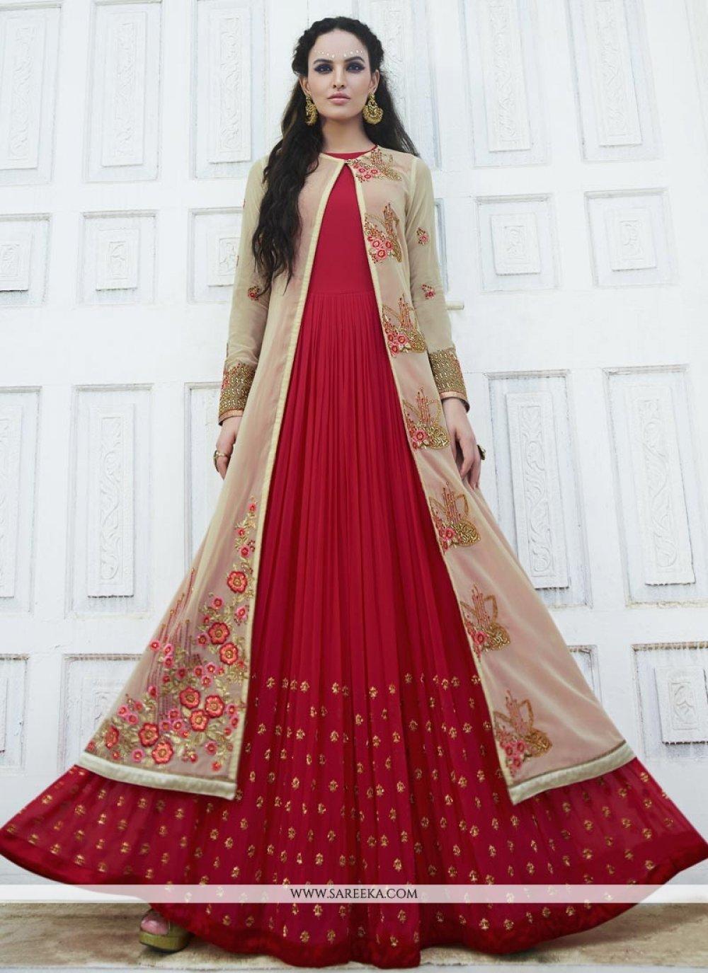 Resham Work Faux Georgette Anarkali Salwar Kameez
