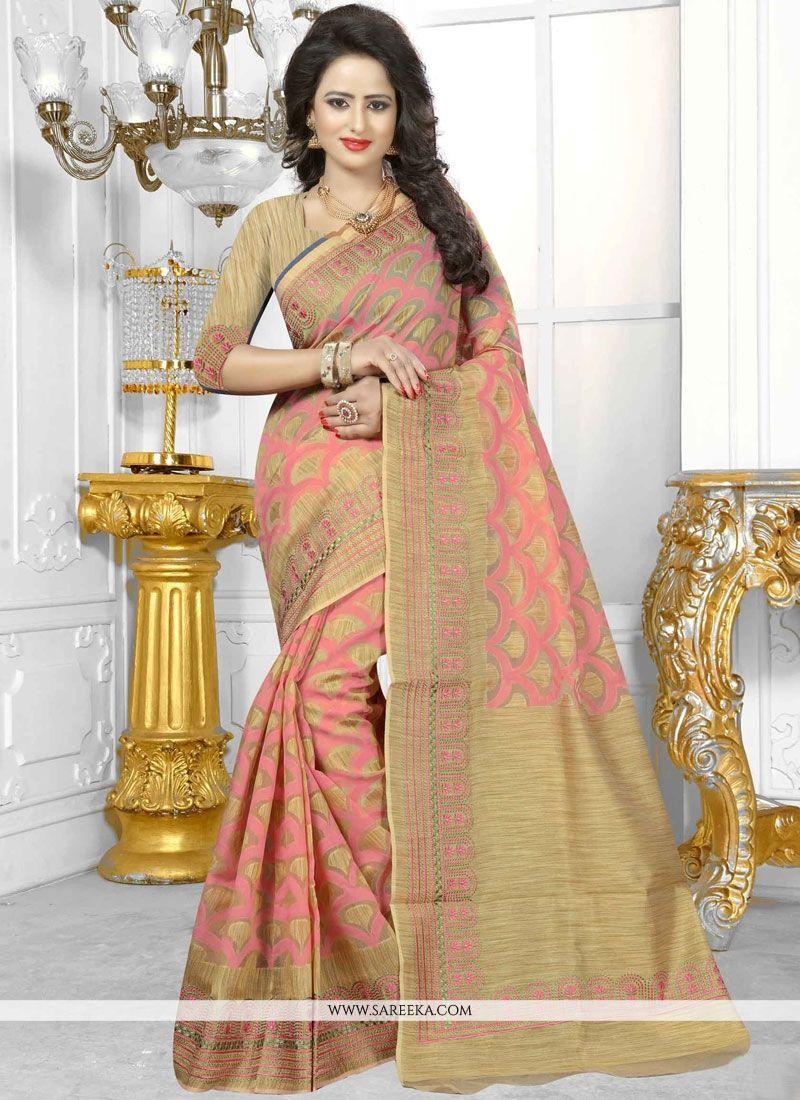 Banarasi Silk Peach Traditional Designer Saree