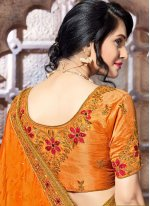 Orange Patch Border Work Designer Traditional Saree