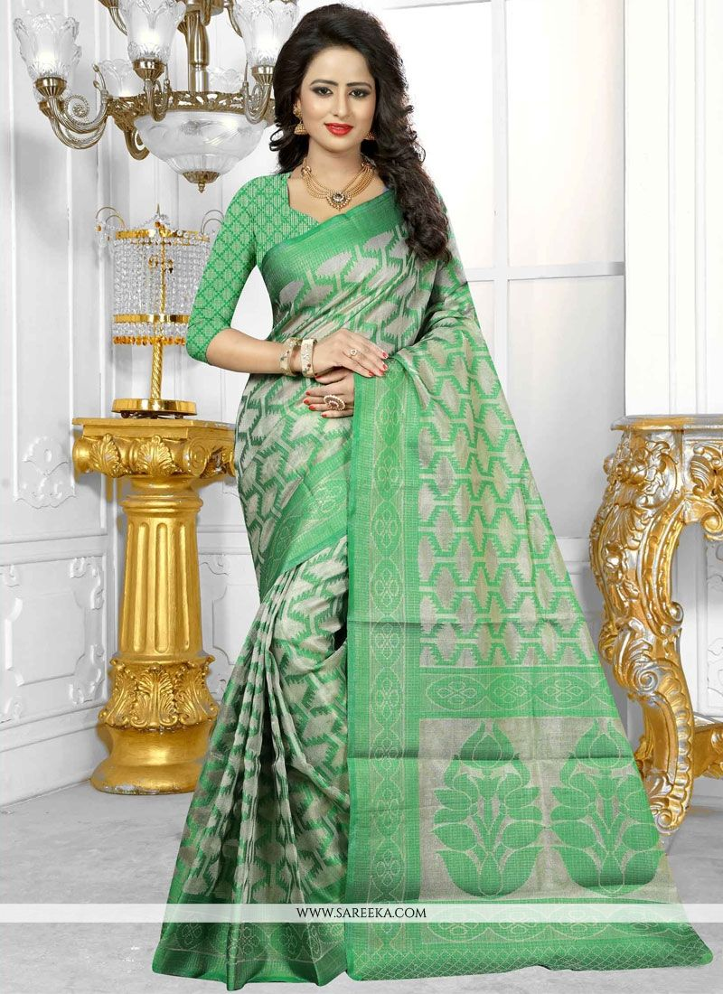 Banarasi Silk Sea Green Weaving Work Designer Traditional Saree