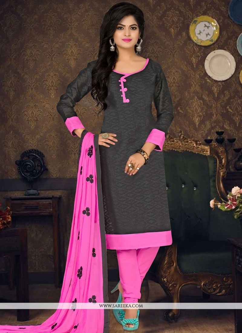 Black Embroidered Work Churidar Suit