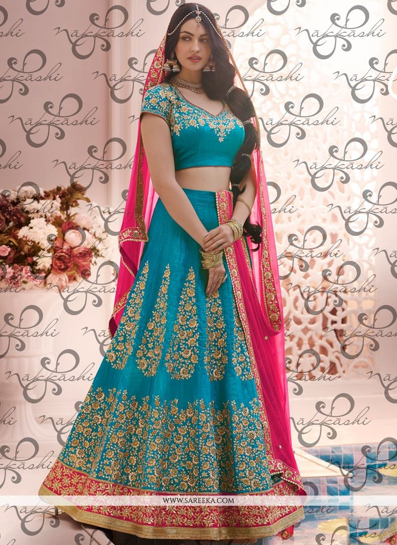 Blue Patch Border Work Handloom silk Lehenga Choli