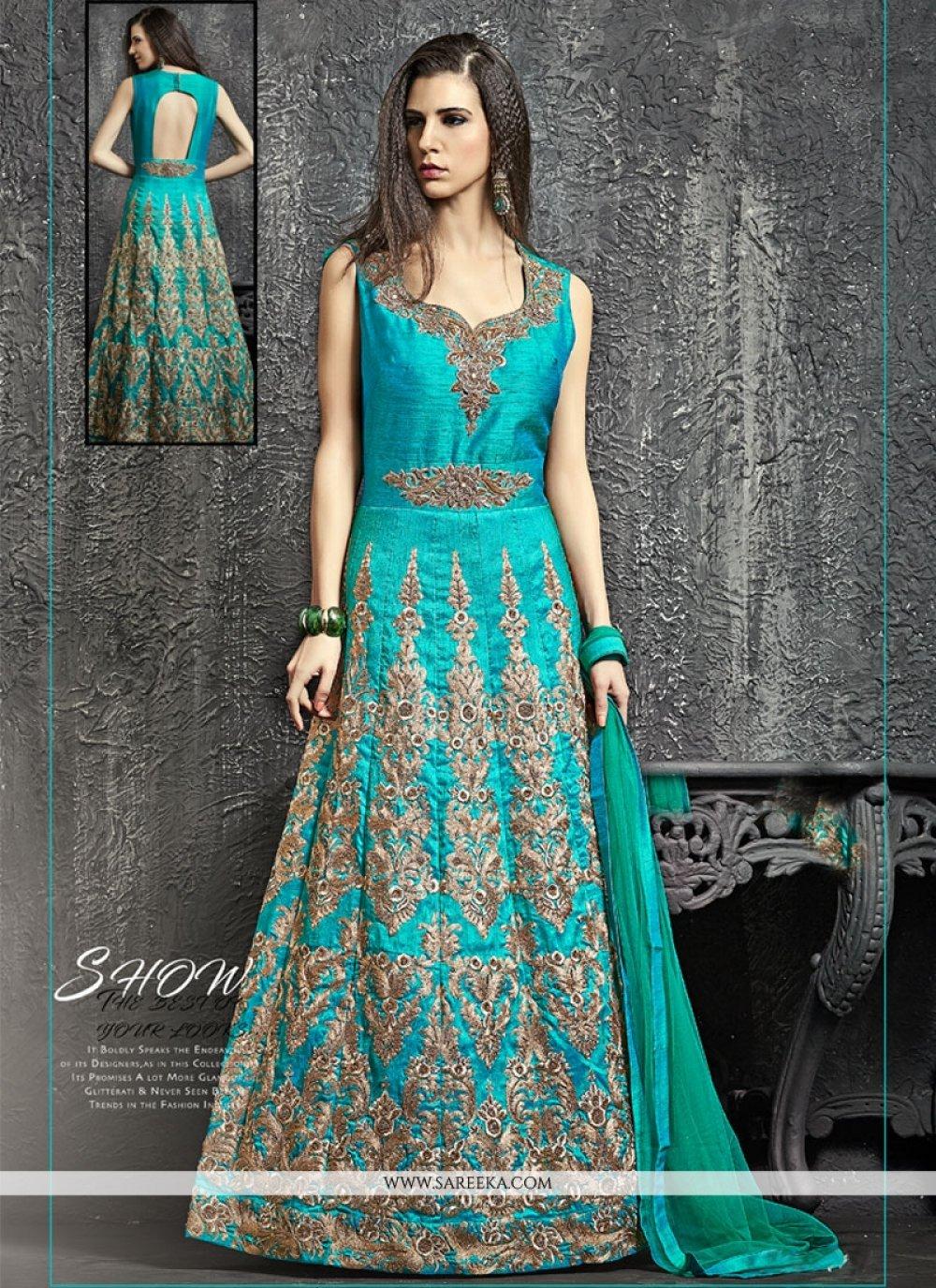 Kasab Work Turquoise Designer Floor Length Suit