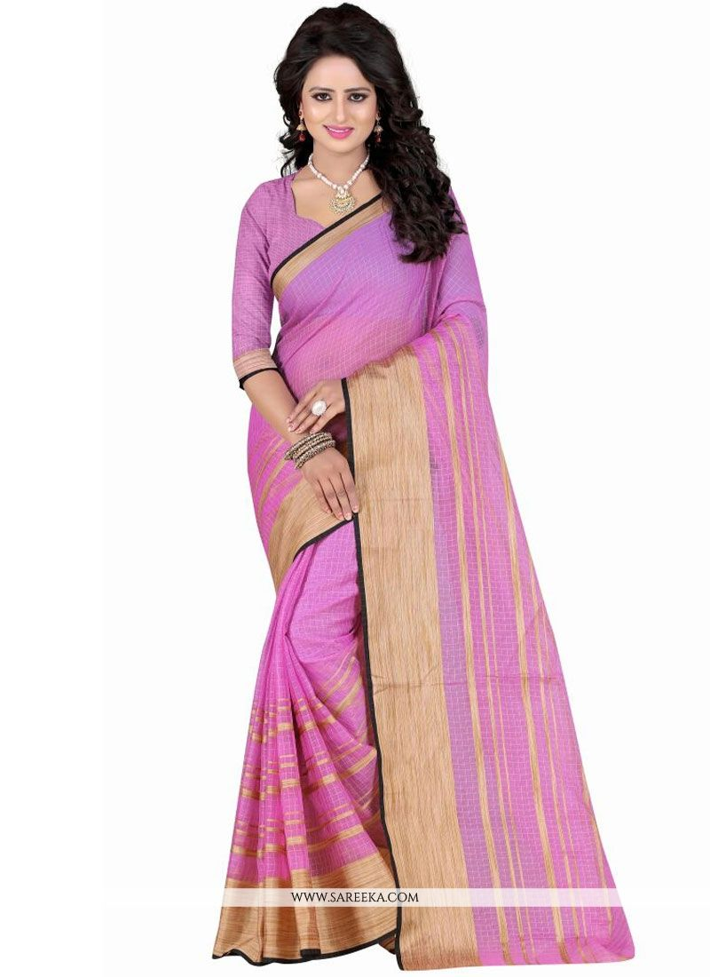 Patch Border Work Pink Polly Cotton Casual Saree