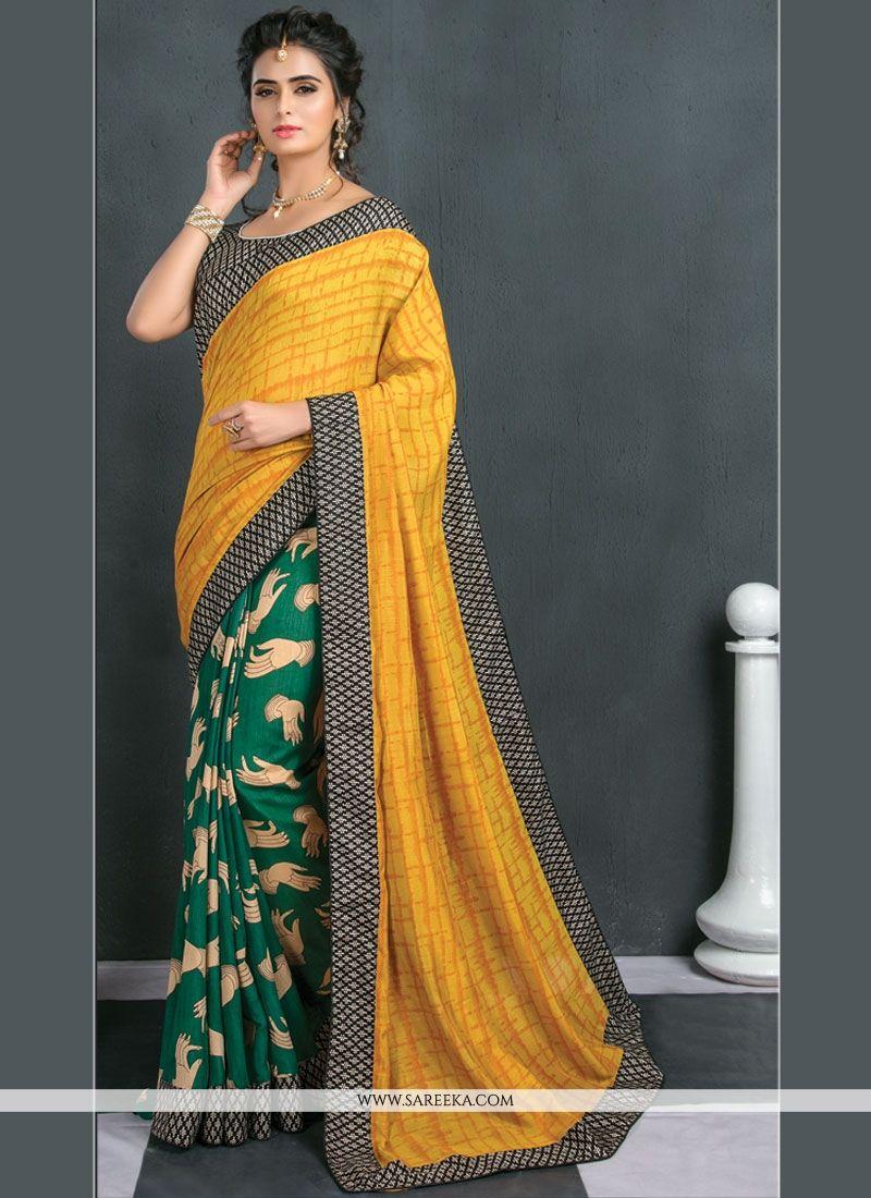 Art Silk Green and Yellow Print Work Traditional  Saree