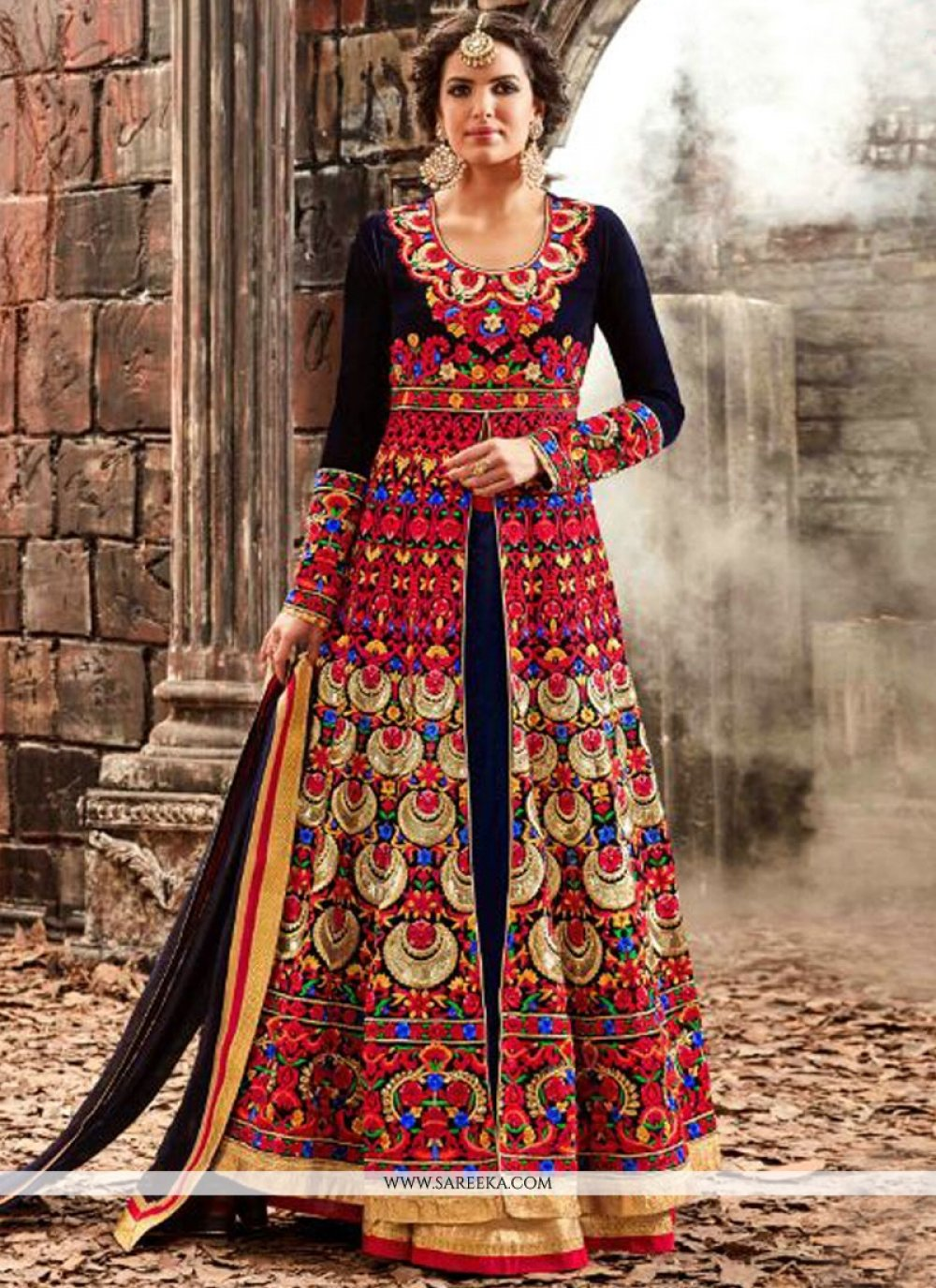Embroidered Work Velvet Navy Blue Designer Floor Length Salwar Suit
