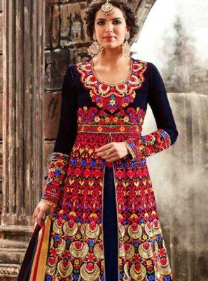 Embroidered Work Velvet Navy Blue Designer Floor Length Salwar Suit