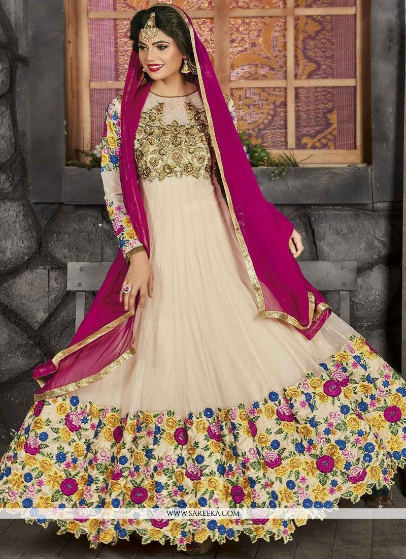 Cream Lace Work Net Floor Length Anarkali Suit