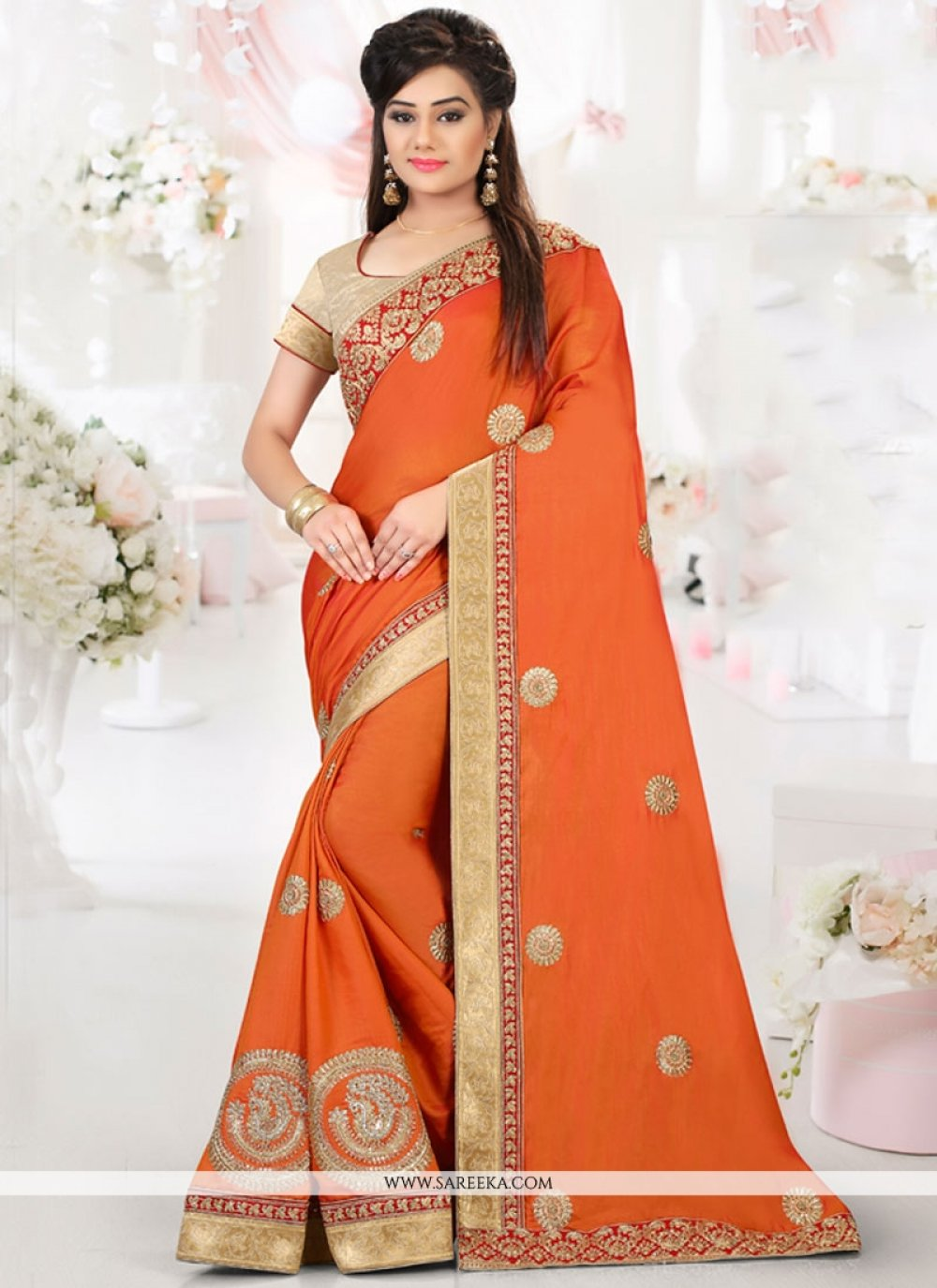 Patch Border Work Orange Art Silk Traditional Designer Saree