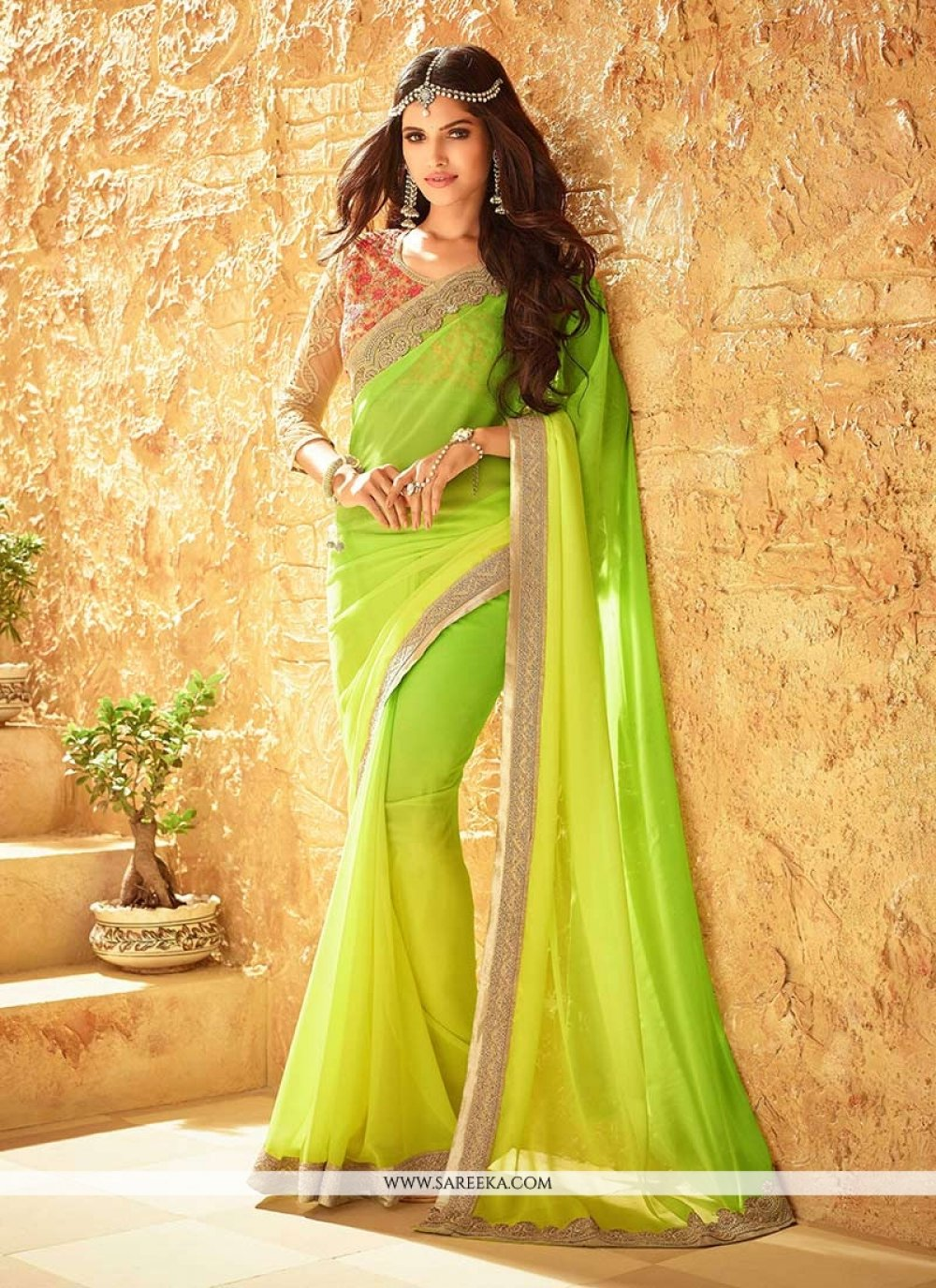 Green and Yellow Embroidered Work Faux Georgette Shaded Saree