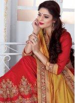 Red and Yellow Resham Work Art Silk Designer Half N Half Saree
