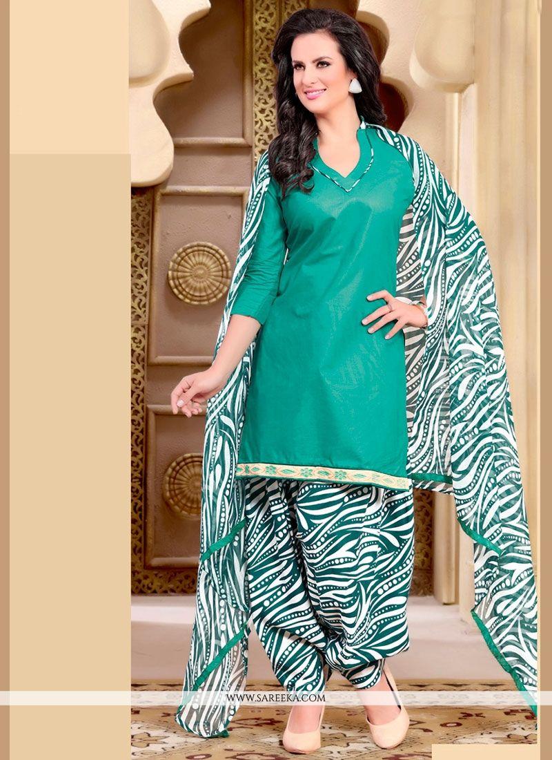 Buy Print Work Cotton Sea Green Punjabi Suit Online : UAE -