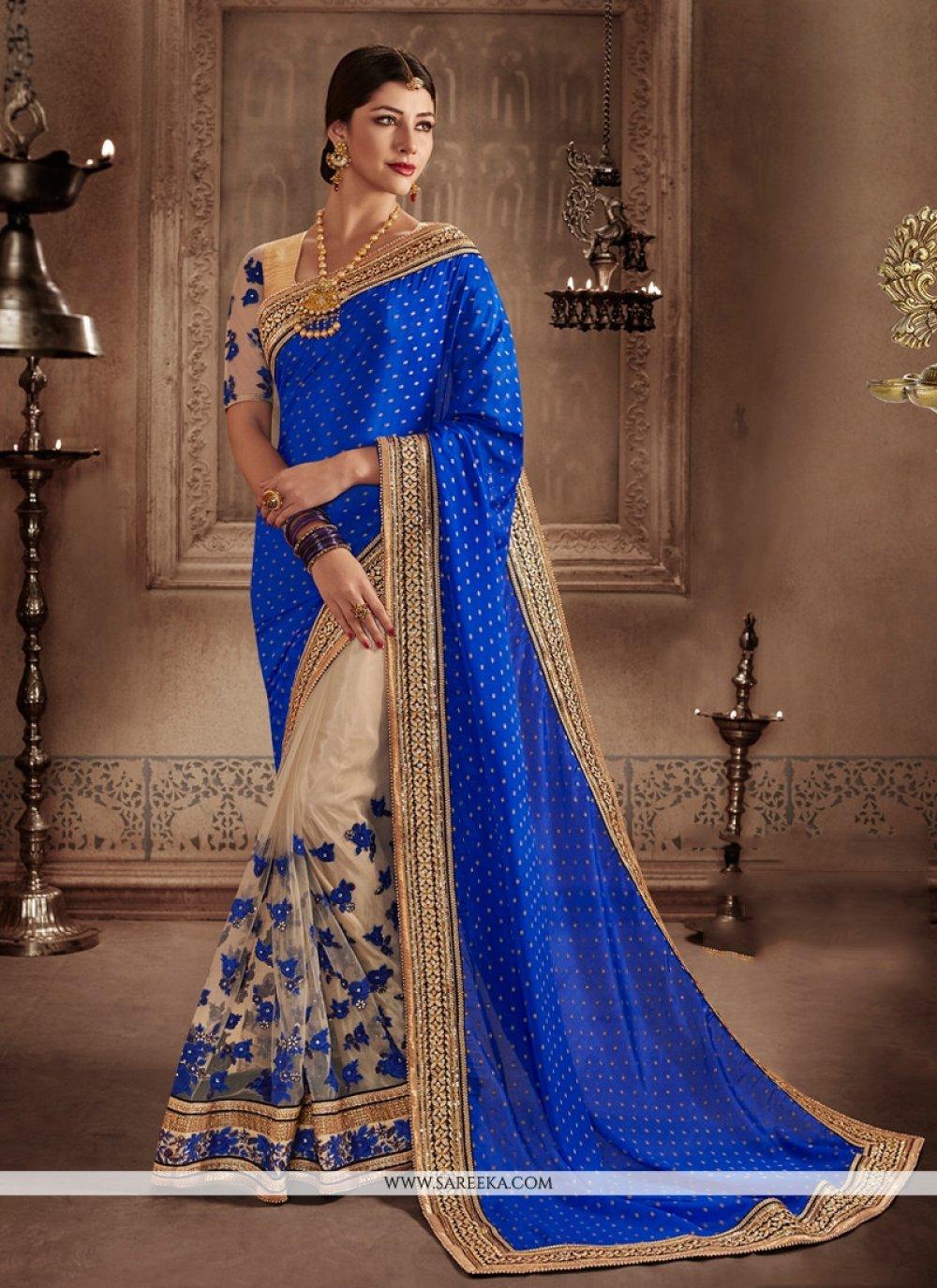 Beige and Blue Patch Border Work Jacquard Designer Half N Half Saree