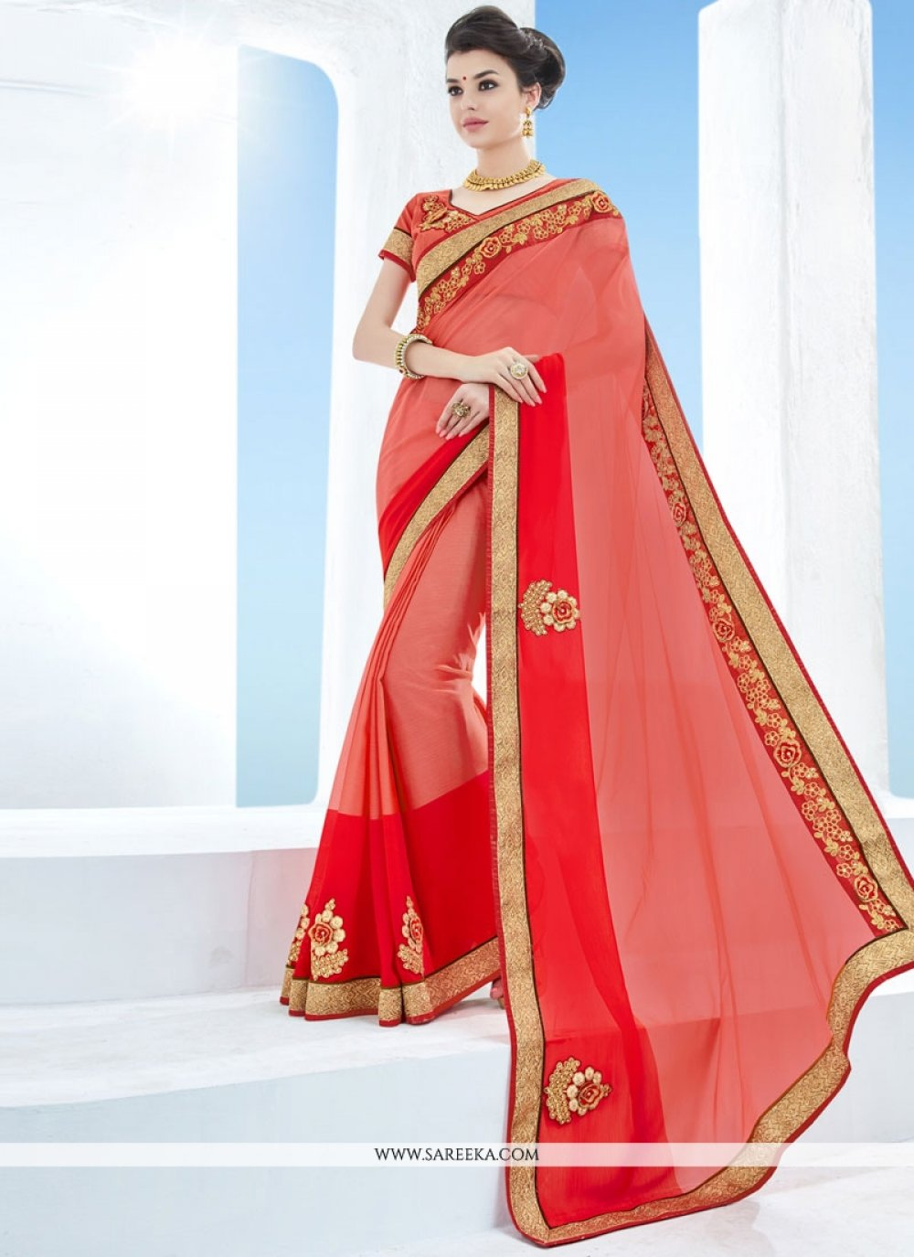 Peach and Red Faux Chiffon Classic Saree