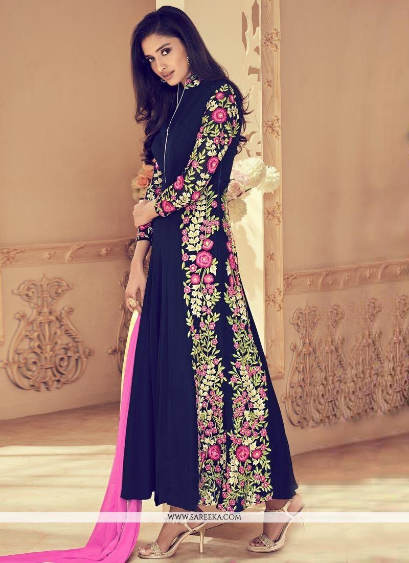 Faux Georgette Floor Length Anarkali Suit