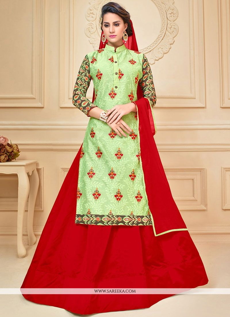 Green and Red Embroidered Work Chanderi Cotton Long Choli Lehenga