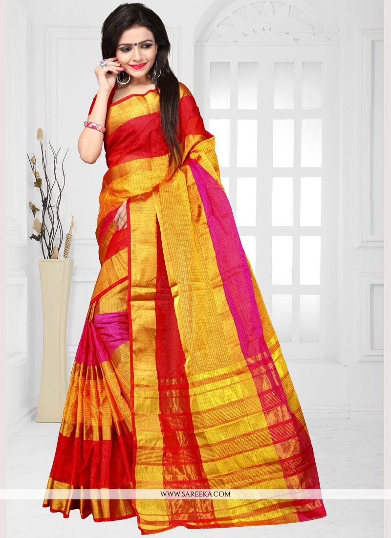 Weaving Work Manipuri Silk Casual Saree