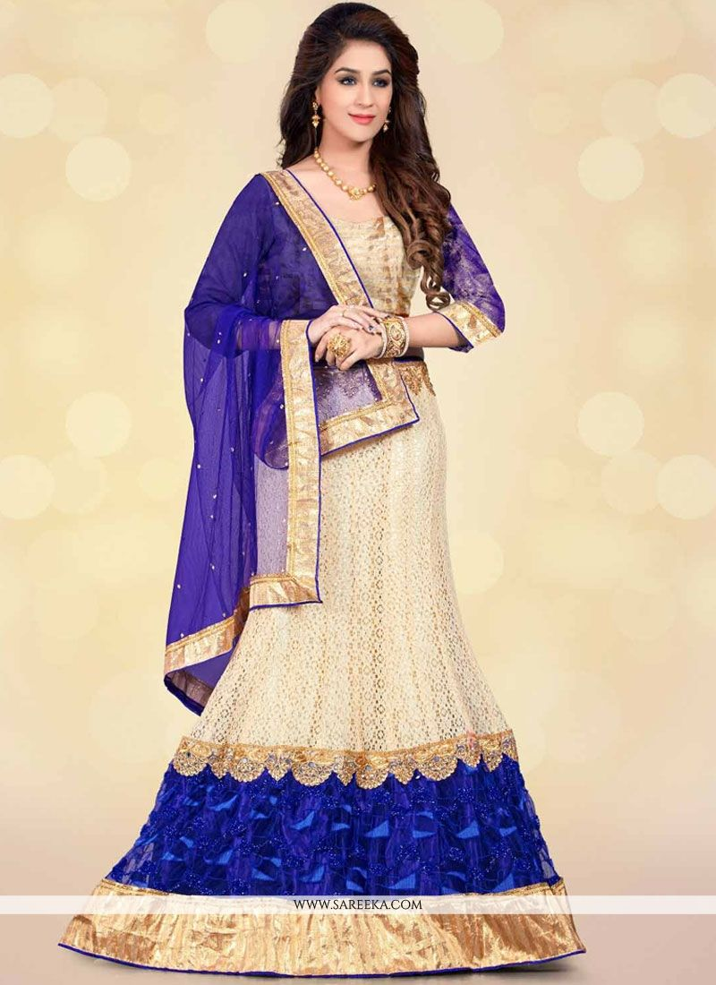 Beige and Blue Patch Border Work Lehenga Choli