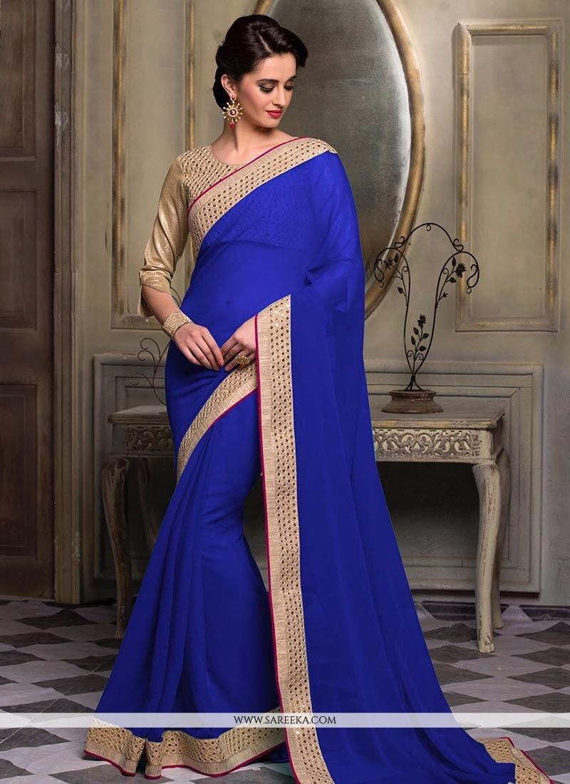Faux Chiffon Patch Border Work Classic Saree