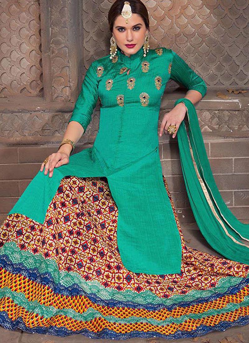 0cc46ae890 Buy Bhagalpuri Silk Turquoise Embroidered Work Long Choli Lehenga ...