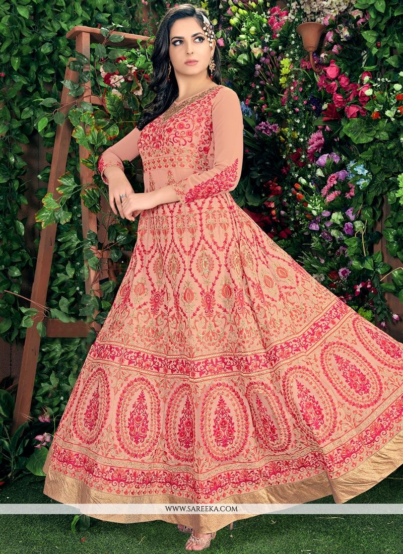 Pink Embroidered Work Faux Georgette Readymade Anarkali Salwar Suit