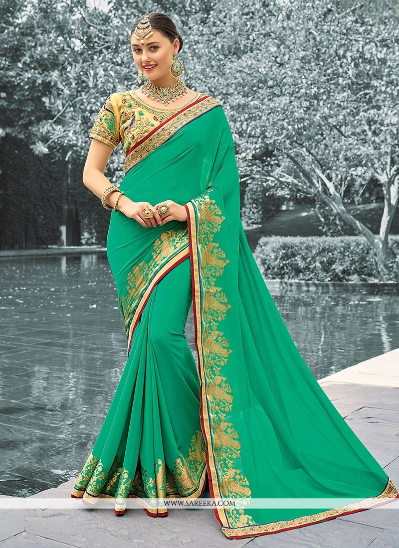 Sea Green Zari Work Faux Georgette Classic Designer Saree