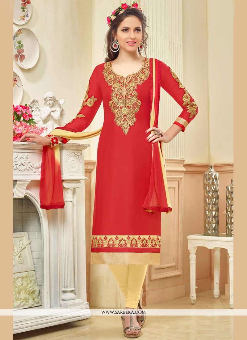 Cotton   Red Churidar Suit