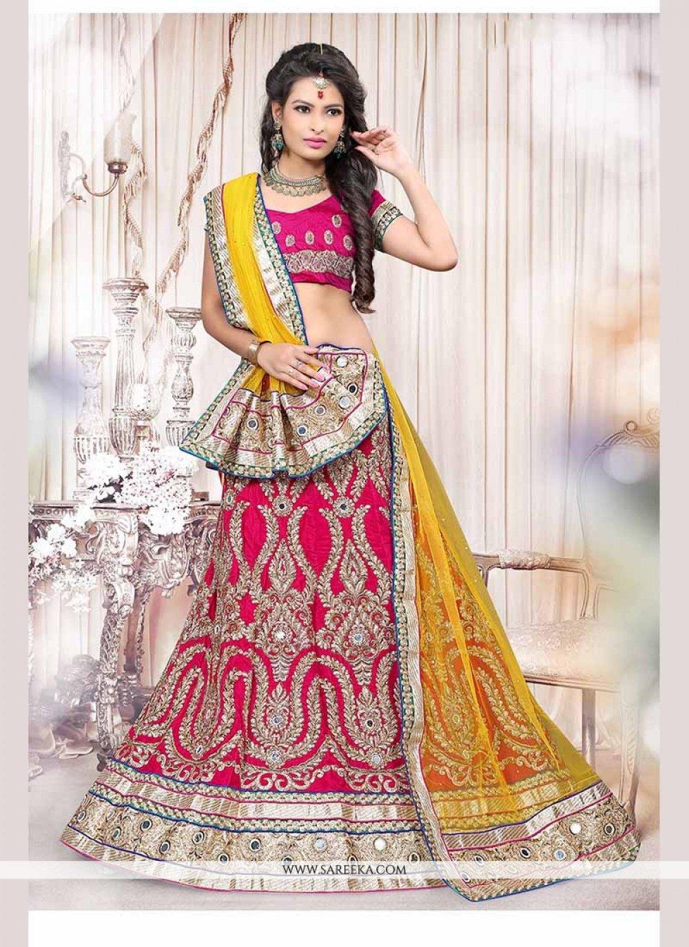 Fancy Fabric Hot Pink Lehenga Choli