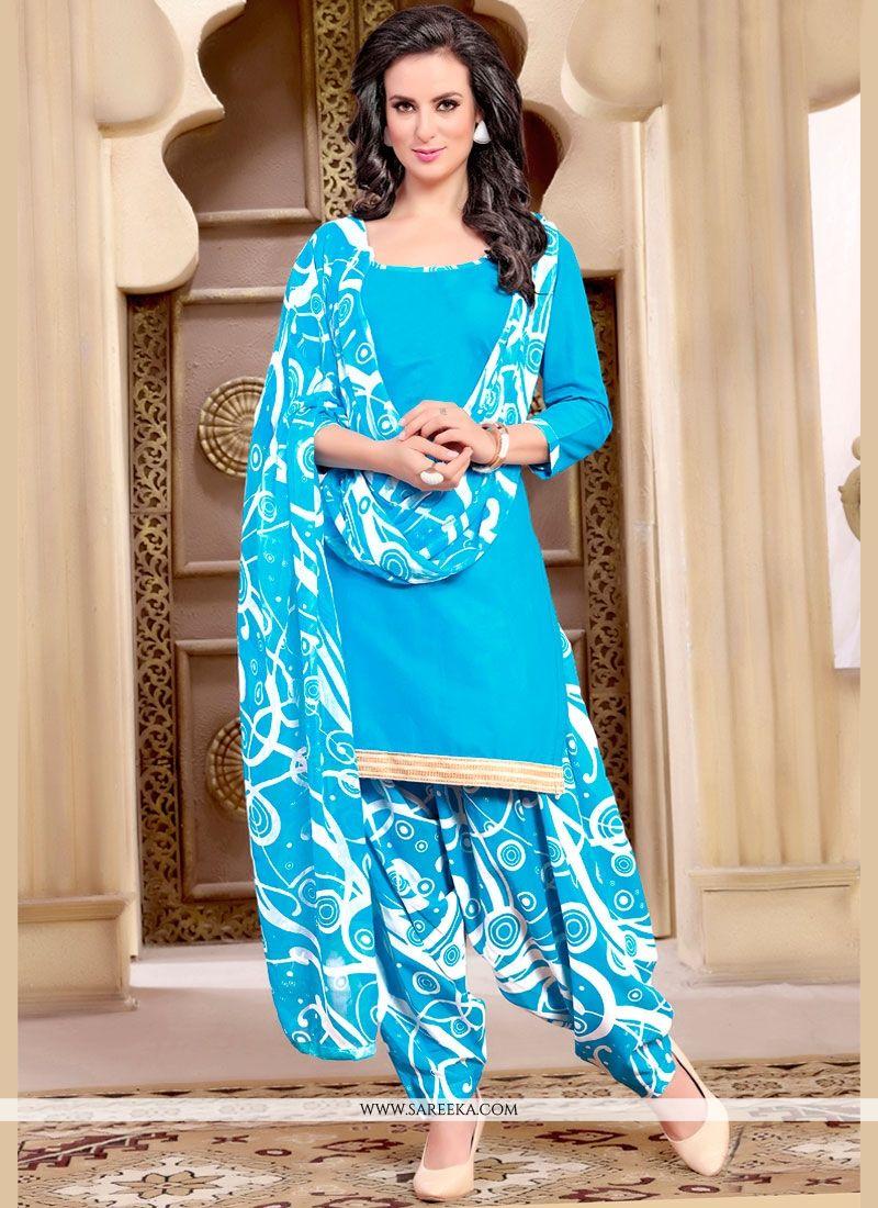 Lace Work Blue Punjabi Suit