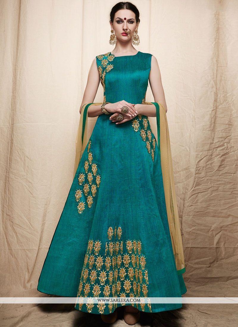 Art Silk Sea Green Embroidered Work Readymade Anarkali Suit