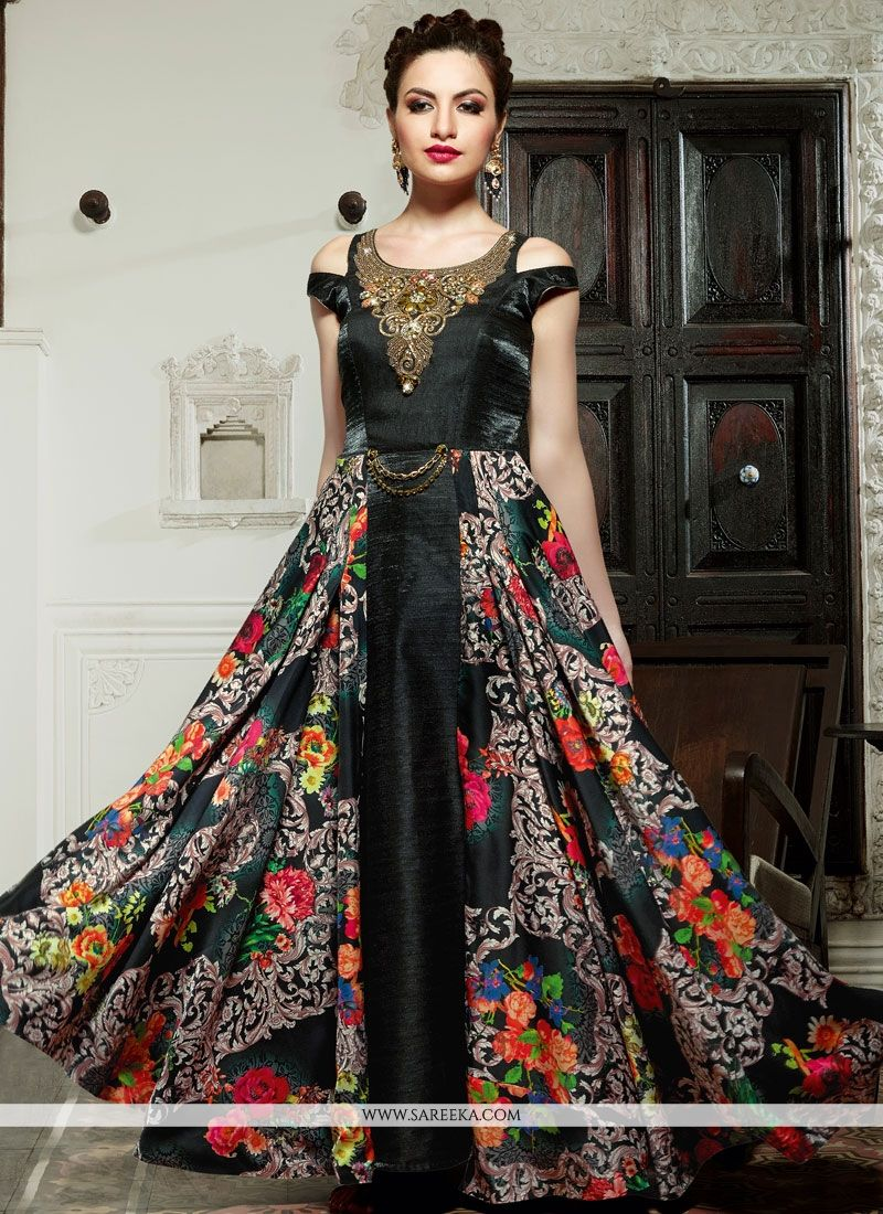 Black Digital Print Work Fancy Fabric Designer Suit