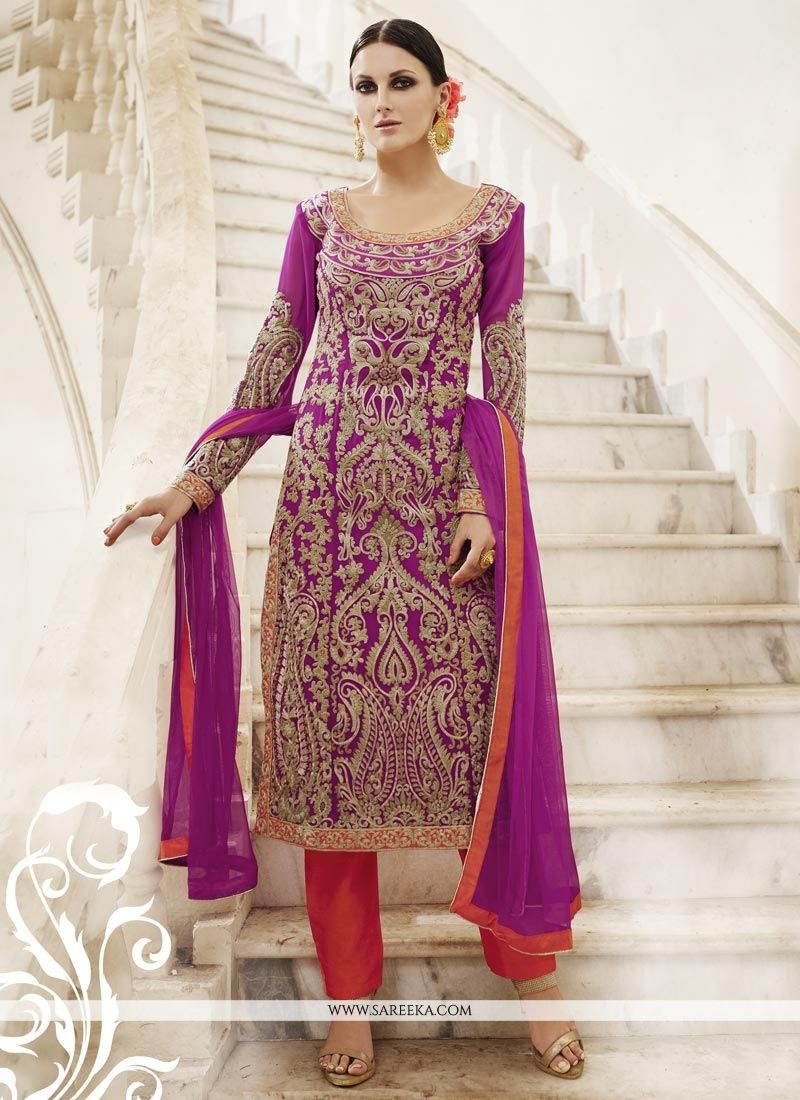 Faux Georgette Embroidered Work Pant Style Suit