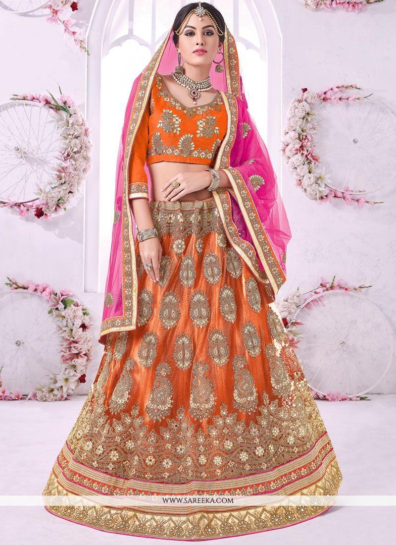 Orange Resham Work Net Lehenga Choli