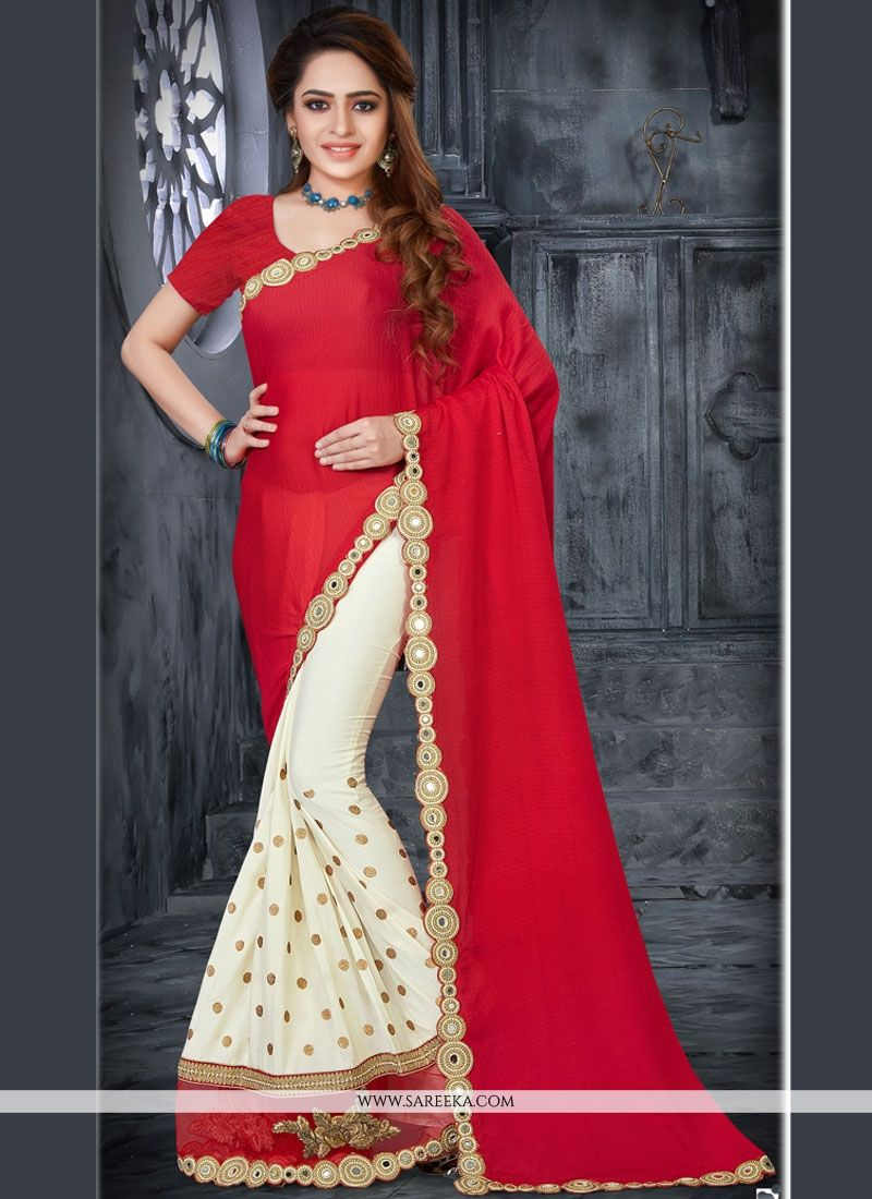 Red and White Lace Work Half N Half  Saree