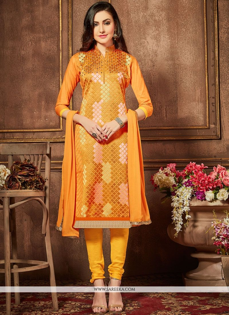 Lace Work Orange Churidar Designer Suit