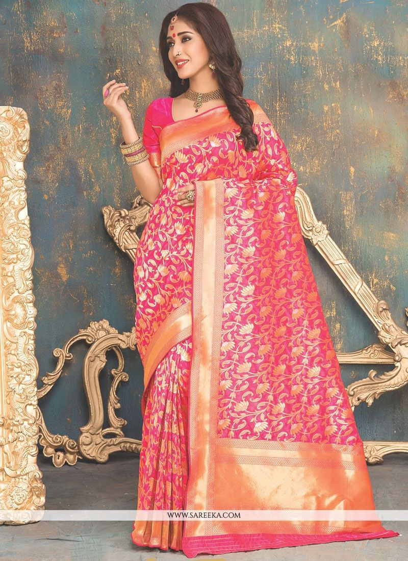 Hot Pink Weaving Work Banarasi Silk Designer Traditional Saree