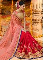 Magenta and Pink Resham Work Faux Chiffon Designer Half N Half Saree