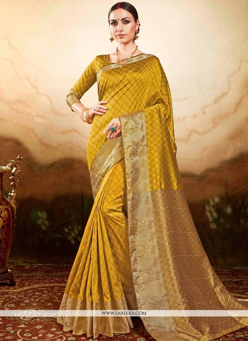 Mustard Weaving Work Art Silk Traditional Designer Saree