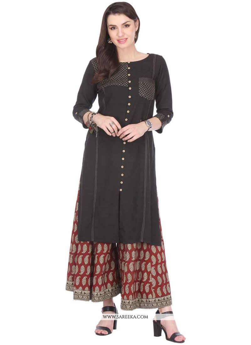 Print Work Rayon Black Party Wear Kurti