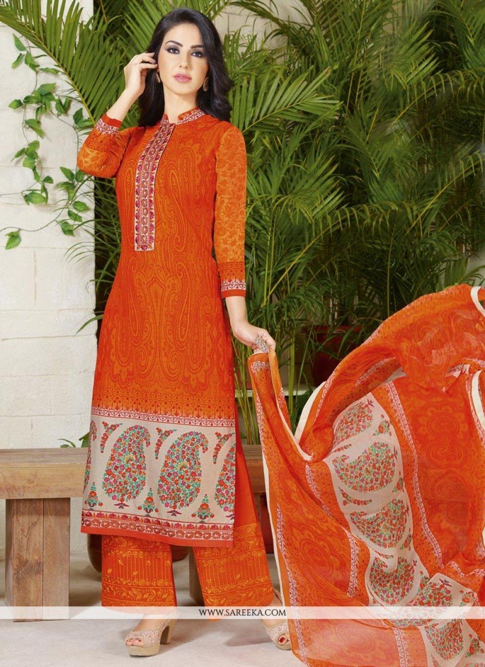 Print Work Orange Cotton   Designer Palazzo Suit